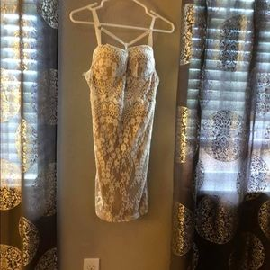 White and nude lace mini dress